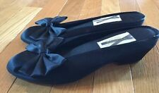 New Vintage Victoria's Secret Fabric Bow Shoes Heels Slip On Size 5/6