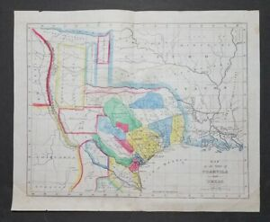 Antique c1920s MAP of the State of COAHUILA and TEXAS ☆ William Hooker on Vellum