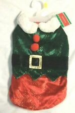 "NEW Pet Dog Christmas Elf Costume Small 10-13"" length girth 15-18"" Sparkle Green"