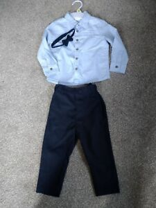 Boys Smart Special Occasion Outfit Shirt Trousers Dickie Bow 12-18 Months 1-1.5