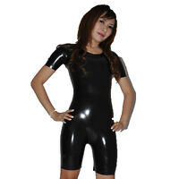Brand New Latex Rubber Gummi Black Short Sleeved Catsuit Body Suit (one size)