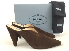 Prada Pointy Toe Brown Suede Mule Slide Shoes 40/10