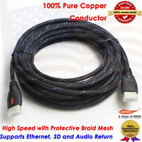 Braided 1080p@60Hz Ultra HD 25FT HDMI Cable High Speed Refresh Rates for Gaming