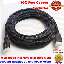 25FT High speed Premium HDMI Cable For BLURAY 3D DVD HDTV PS3 XBOX LCD TV HD USA