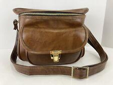 Vintage Brown Leather Camera & Accessories Saddle Bag Shoulder Strap Medium Size