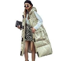 Winter Glossy Vest Women's Warm Hooded Cotton Down Overknee Loose Coat Jackets L