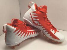 Nike Alpha Menace Pro Mid Cleat Size 11.5 Team Orange And White - 871451-811