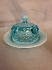 Mosser Glass Blue Opalescent Butter Dish Eye Winker Aqua