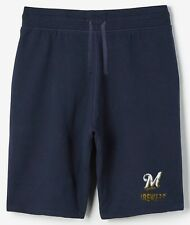 Milwaukee Brewers MLB Mens Majestic Cotton Shorts Navy Blue Big & Tall Sizes