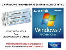 2 x Windows 7 Professional 32 or 64bit Product Key ONLY - Activate on-line