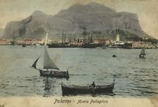 Postcard Monte Pellegrino Palermo Sicily Italy Handcolored Tinted c. 1905 Boats