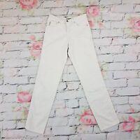 Armani Jeans Trousers Cotton Pockets Zip Lowe Rise White Size UK 10