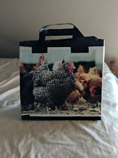 recycled plastic chicken grain bag totes, duck tape handles,13