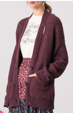 NWT Margaret O'Leary Distressed Grunge Plum Connie Cardigan Sweater M $255