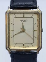 Vintage Men's Seiko 25mm Leather Band 5y31-5a39 Rectangular Watch