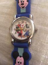 Reloj de Pulsera niños Niñas Niños Mickey Mouse Azul Correa De Silicona Acero atrás encomendada