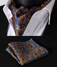 RF304B Blue Orange Paisley Silk Cravat Scarves Ascot Tie Hanky Handkerchief Set