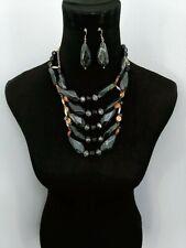 Black Gray Bead Necklace Set Multi-Layer Fashion jewelry