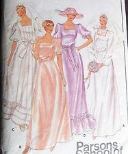 Vintage WEDDING BRIDAL dress GOWN sew pattern sz 8 square neck ruffles gathered