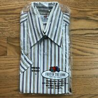 Vintage Fruit of the Loom Mens Shirt Short Sleeve Size 15 Striped NEW NOS 70's