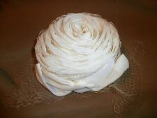 Vintage STUNNING Ivory Straw Pillbox Hat with Netting- looks like a flower!