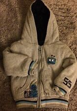 Little Boy's warm fluffy lined grey robotics robots hooded jacket 12-18 months