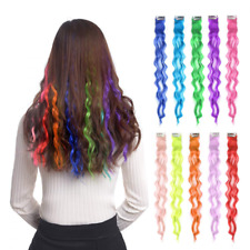 "10pcs Colored Clip in Hair Extensions 22"" Curly Fashion Hairpieces for Party"