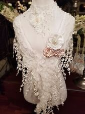 Bridal Scarf Cover up,Shawl,Shrug Stole.Hand Made White Lace.Choker not incl