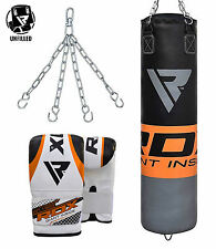 RDX Heavy Punching Bag Empty Speed Training Kit Boxing Gloves Pad Station MMA