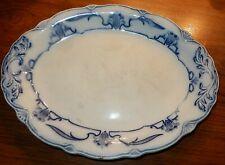 """12"""" x 9"""" Vintage Oval Platter Plate Blue Grindley White Porcelain"""