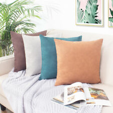 Plain Faux Imitation Leather Cushion Covers Throw Scatter Pillowcases Home Decor