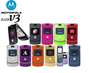 Original Motorola RAZR V3 Flip Mobile Phone Unlocked Cellphone Camera  2G GSM
