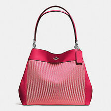 Coach Lexy Shoulder Bag Legacy Jacquard F57540 Silver/ Bright Pink NWT