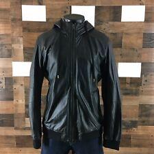 Men's Vince Hooded Jacket Sheepskin Size XL Leather Bomber Jacket ( TINY TEAR )