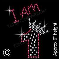 """I am 1"" Birthday Girl Rhinestone Transfer Hotfix Iron on Motif with a Free Gift"