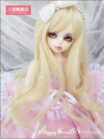 BJD Doll 1/4 7-8 Wig Long Curly Wave Hair High Temperature Fiber for Girl Blonde
