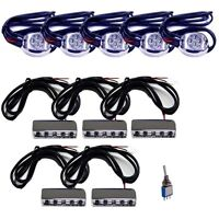 BLUE 45 LED(10Pod)+SWITCH KIT SET MOTORCYCLE/CAR/BOAT ACCENT BRIGHT LIGHT 12V