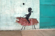 "Banksy Cowboy Brick Boy Graffiti Art Print Canvas  24""x36"" Urban Street Art"