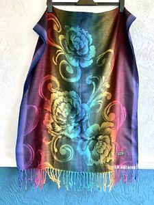 Ladies Floral Warm Scarf Wrap Fringe Tassels 100% Viscose