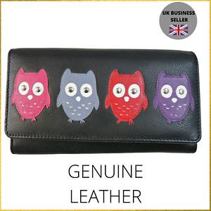 Mala Leather Owl Ladies Trifold Purse - Genuine Leather - Owls