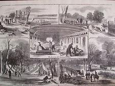 1866 Antique Harper's Civil War Era Engraving Woodcut Print Hamburg TN RARE!