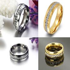 Engagement Band Sz4-15 CZ Titanium Ring Couple Wedding