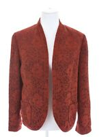 Coldwater Creek Tapestry Romantic Floral Red Blazer Jacket Pockets Womens Sz M