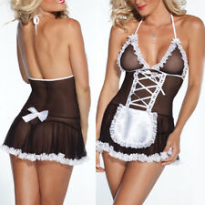 Sexy Women's Lace Halter Maid Lingerie Suit Sleep Costume Cosplay Fancy Dress