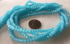 "16"" Strand MILKY CERULEAN BLUE FACETED 4mmx3mm  Machine Cut Crystal Rondelles"