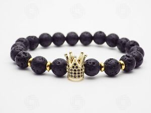 Mens Gold Crown Lava Stone Power Warrior Gemstone Bracelet King Viking Gift UK