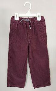 Mini Boden Toddler Boys Corduroy Pants 4Y Cotton Plum Purple Drawstring Pockets