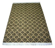 Indian Hand Block Printed Area Rug Jute Cotton Rectangle 4'2''x 6'2'' Feet Rug