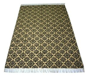 Indian Hand Block Printed Area Rug Jute Cotton Rectangle 4'2''x 6'2'' Ft DN-1895