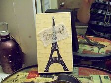 Paris wall decor cream Eiffel Tower block shelf sitter sign shabby French chic
